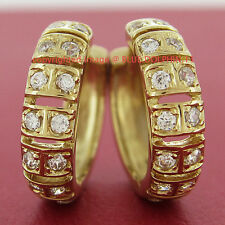 Genuine Solid 9K Yellow Gold Huggies Hoop Engagement Earrings Simulated Diamonds
