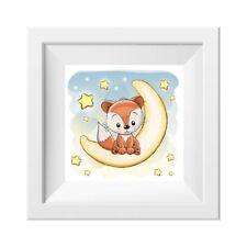 023 Kinderzimmer Bild Fuchs Mond Poster Plakat quadratisch 20 x 20 cm (ohne Rahm