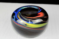 M. E. Brumbaugh 2002 signed art glass vase with color swirl rolled studio