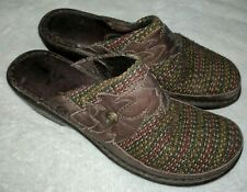 BORN  Brown Leather & Fabric Clogs Slip On MULES Size 10 / 42 M Women's