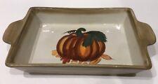 Hausenware Ceramic Rectangular Holiday Serving Platter w/ Handle Pumpkin Design