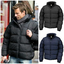 Mens Down Feel Puffer Quilted Padded Coat Jacket Winter Warm S - 3XL Black Navy