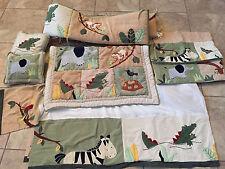 KIDSLINE Zanzibar Jungle 7pc NURSERY SET Pillows Valance Blanket Crib Bumper