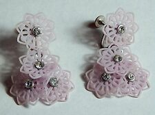 VINTAGE LAVENDER OLD PLASTIC RHINESTONE DANGLE EARRINGS SCREWBACKS