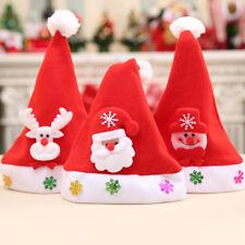 3X Navidad Tradicional Sombreros para Niños y Adultos Santa Disfraz Rojo