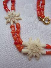 Vintage Trachtenschmuck BeinTrachten Koralle Edelweiss Halskette Necklace Nr.353