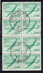 CHILE small town cancel CONTULMO on block of 8