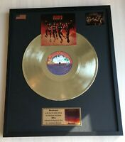 KISS DESTROYER 1976 GOLD METALIZED VINYL RECORD IN FRAME UNDER GLASS