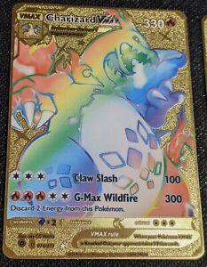 Champion's Path Rainbow 🌈 Charizard VMAX 74/73 GOLD METAL CUSTOM Pokemon Card