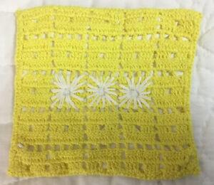 Vintage Hand Crocheted Pot Holder, Rectangle, Yellow & White