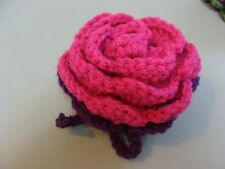 Luggage Bag Identifier ID Tag Crochet Rose Magenta Purple