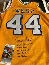 Autographed Jerry West Los Angeles Lakers jersey w/ 5 stats JSA certified signed