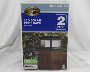 Hampton Bay LED Solar Post Caps Black Finish 2pk 1002 628 623 NEW A093