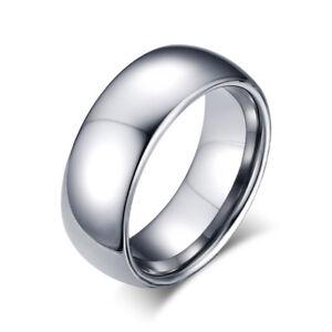 Herren Ring 8 mm Wolfram Carbid Tungsten poliert
