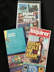 Grand Theft Auto Vice City Stories Poster Map, Case & Vice City Booklet No Game