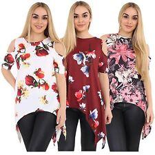 New Womens Plus Size Cold Cut Out Shoulder Asymmetric Hanky Hem Tunic Tops 8-26