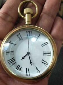 "Nautical Vintage American Elgin Look Collectible  Antique 2"" Brass Pocket Watch"