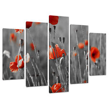 Set of 5 Red Black White Wall Art Canvas Pictures Living Room XXL 5135