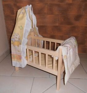 Puppenbett  Kissen  Decke  Bettlaken  Himmel Komplett-Set  Massivholz  Angebot
