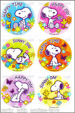 Snoopy Stickers x 6 - Birthday Party Favours - Snoopy Peanuts Stickers Lolly Bag