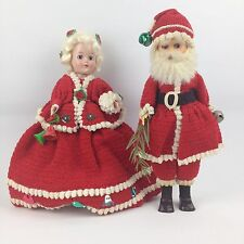 "VTG 50s 60s Santa & Mrs Claus Strung Doll 11"" Sleep Eyes Christmas Xmas Decor"