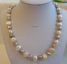 Christmas offer: Genuine 9-10mm baroque freshwater pearl necklace purple+white