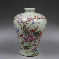 """6"""" China antique Porcelain Qing tongzhi famille rose painting Phoenix peony vase"""