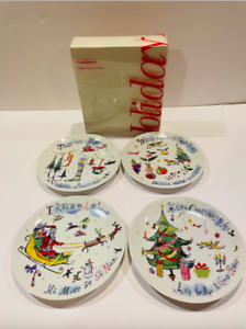 """Crate & Barrel Christmas Twas The Night Before 8"""" Dessert Plates- Set of 4"""