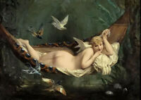 Dream-art Oil painting figure Henri Pierre Picou - the hammock nude girl & birds