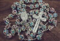 Colorful Zircon Beads Silver Rosary Catholic Necklace Miraculous Medal Cross