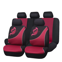 Car Seat Covers Set Universal Butterfly Embroidery Breathable red Protectors