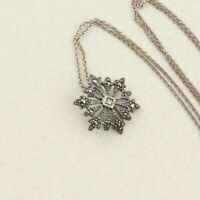 Sterling Silver Marcasite Snowflake Necklace 18 chain