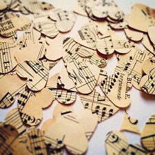 400 Vintage Heart Music Sheet Confetti - Rustic Table Decorations