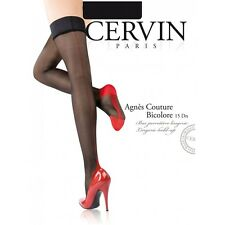Cervin Paris Stay up stockings bi-colour made in France Agnes couture (seam)