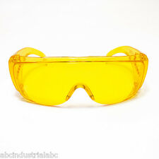 JORES AMBER YELLOW LENS SAFETY FITS OVER THE NIGHT DRIVING GLASSES UV 400