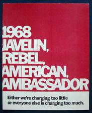 Prospekt brochure 1968 AMC Javelin * Rebel * American * Ambassador (USA)