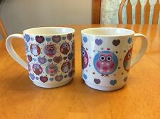 Heart Owls Stacking Coffee Mugs. Creative Tops. Blue. So Cute. New.