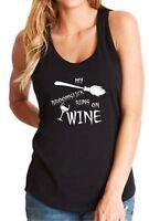 Ladies Tank Top My Broomstick Runs On Wine Shirt Halloween Witch Tee Hocus Pocus