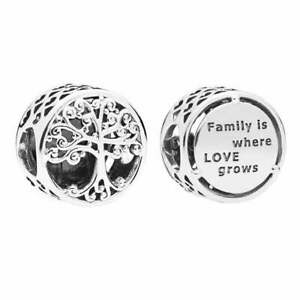 SOLID Sterling Silver Round FAMILY TREE ROOTS HERITAGE  Charm by Pandora's Wish