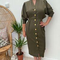 Vintage Paul Polly Button Through Dress Khaki Green Dress Safari Army Sz 8 10