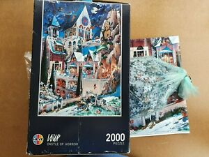 RARE HEYE 2000 PIECE JIGSAW BY JEAN JACQUE LOUP - CASTLE OF HORROR - WITH POSTER