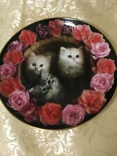 1993 Coming Up Roses Three Tiny Treasures Rich Stacks Danbury Mint Kitten Plate