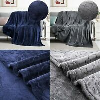 Large Soft Warm Faux Fur Bed Sofa Throw Embossed Fleece Blanket Single Double