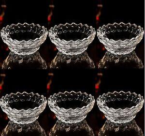 Set Of 6 Crystal Clear Glass Bowls Set Ice Cream Sundae Prawn Cocktail Dessert N