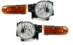 TOYOTA FJ CRUISER 2007-2014 HEADLIGHTS PARK TURN SIGNAL LIGHTS HEAD LAMPS 4PC