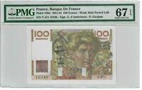 France 100 Francs Banknote 1952 Pick# 128d PMG Superb GEM UNC 67 - Vintage