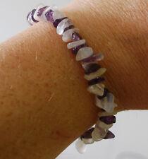Amethyst & rainbow moonstone chip bead healing crystal bracelet