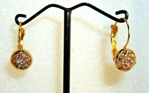 ROSE GOLD DRUZY EARRINGS WITH ROSE GOLD PLATED LEVERBACKS