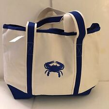LARGE dark blue CRAB CANVAS beach cotton natural tote bag EMBROIDERED ZIP NEW
