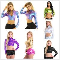 Shiny Metallic Womens Long Sleeves Crop Top Slim T-shirt Dancewear Blouse Shirt